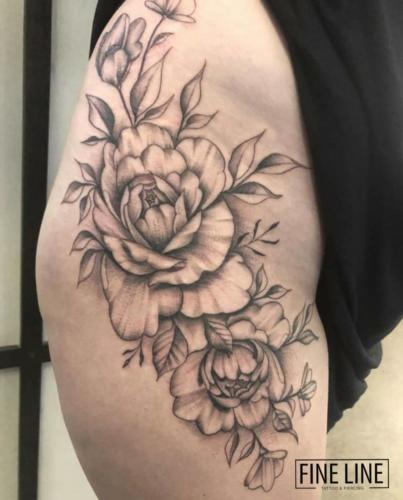 Mike - Black and grey flower tattoo