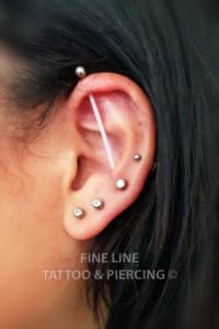 Lobes, a mid-helix and a vertical scaffold piercings