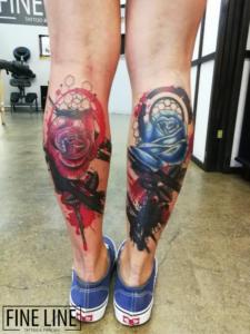 Floral leg tattoos