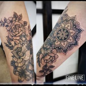 Add-on flower and mandala tattoo