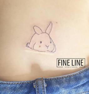 Cute rabbit over appendix scar