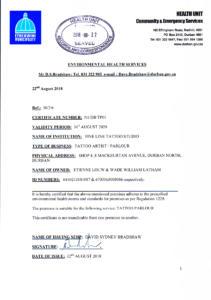 Department of Health Certificate