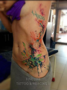 Colour splash tattoo