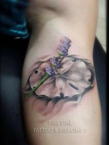 Lavender on lily-pad tattoo