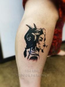 Aviator lady tattoo