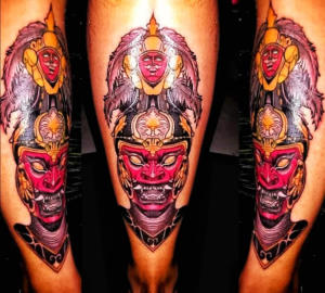 Japanese Oni-demon mask tattoo