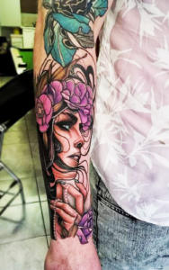 Neo-traditional lady face tattoo