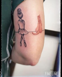 Cat and ballerina tattoo
