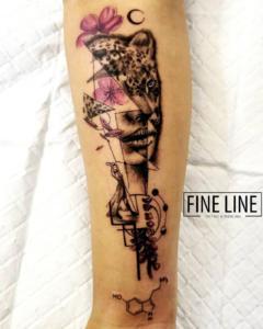 Lady into leopard tattoo