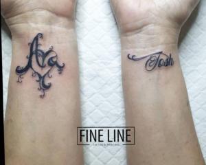 Script on wrist tattoo