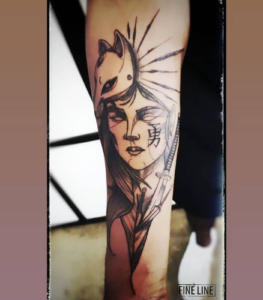 Wolf lady tattoo