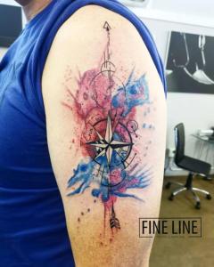 Watercolour compass tattoo